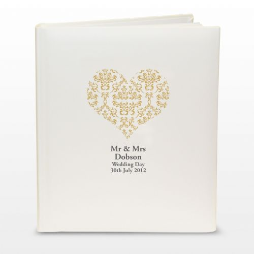 Gold Damask Heart Traditional Album Personalised